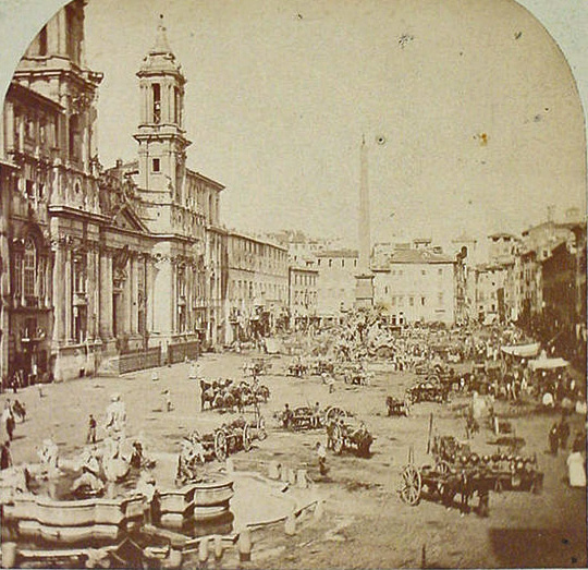 Piazza Navona Rome old photo