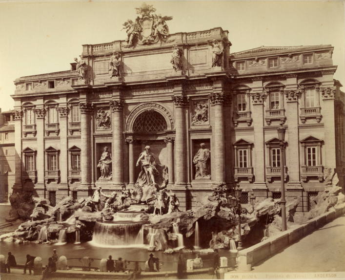 Trevi fountain, Rome, old photo