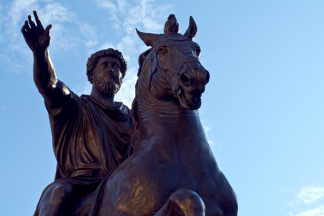Statue of Marcus Aurelius at the center of Piazza Campidoglio. This statue is a replica made in 1981 of the original housed in the Palazzo dei Conservatori Museum.