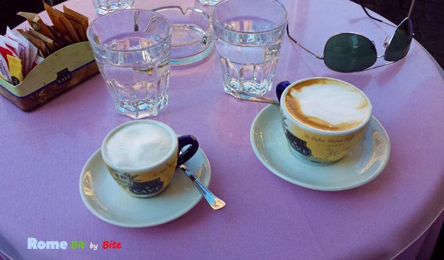 Caffè macchiato and cappuccino at Caffè Farnese