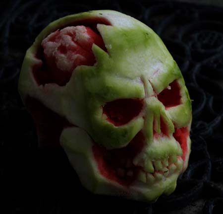 skull carved watermelon with visible brains
