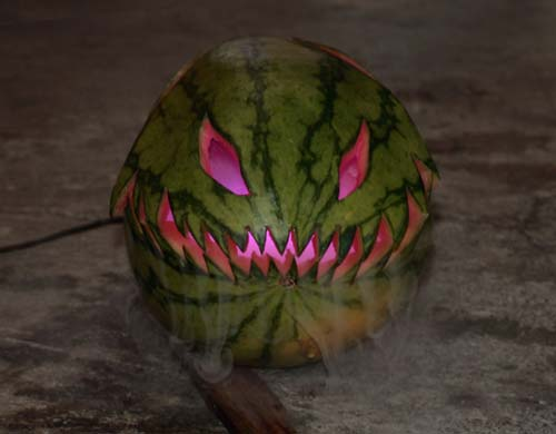 Watermelon carved for Halloween