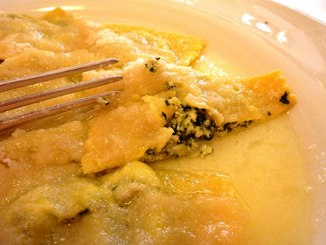 "Tortelli di erbette, filled with ricotta, grated cheese and ""erba bieta"" (chard), known as ""erbetta""."