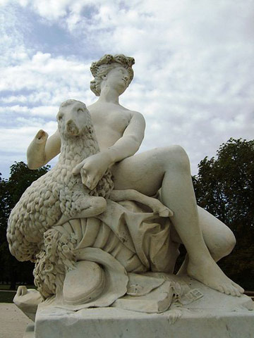 Pallas with lamb in Carrara marble by Jean-Baptiste Boudard