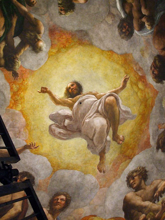 Vision of St John detail - Correggio