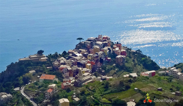 Corniglia as seen from above, from the hiking trail. Photo © Slow Italy.