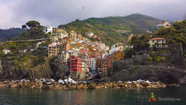 Riomaggiore as seen from the ferry boat. Photo © Slow Italy.