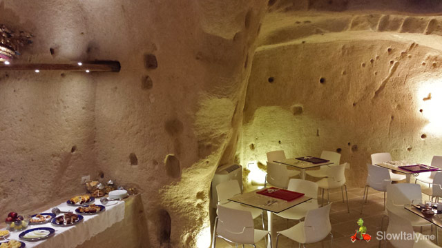 "Breakfast ""cave"" in one of the cave hotels of the Sassi of Matera."