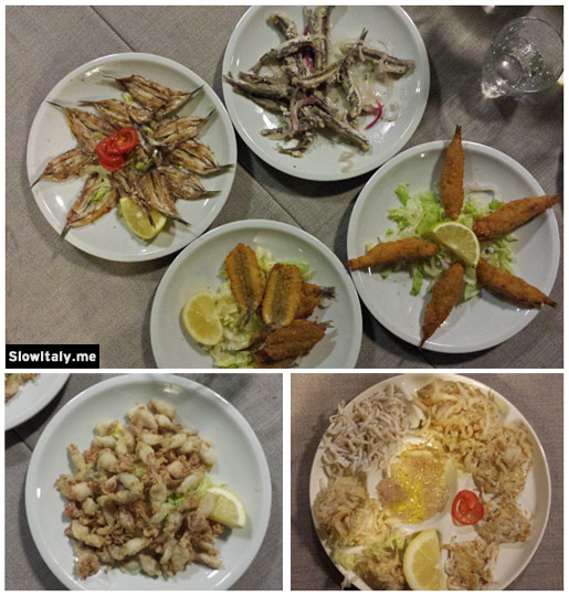 From top to bottom and clockwise: anchovies 4 different ways (the 5th dish, unfortunately, didn't fit within the photo), bianchetti and novelli (fried baby octopus). Photo © Slow Italy.