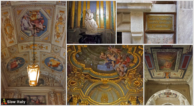 Chamber of Commerce, chapel, facade and corridors. Photos © Slow Italy.