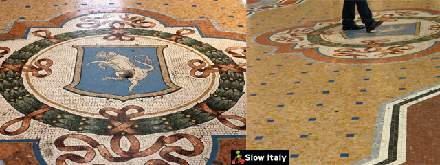 Turin's Bull, central mosaic of Galleria Vittorio Emanuele. Photo (left) © emurtola. Photo (right) © cronopios.