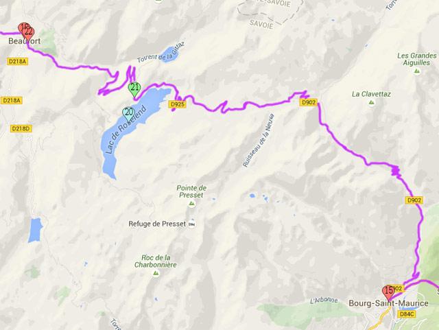 15. Bourg-Saint-Maurice 18. Beaufort 19. Col de Méraillet 20. Lac de Roselend 22. Route de Roselend