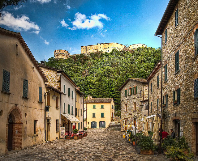 San Leo with the 15th century fortress Rocca di San Leo in the background. Photo by Anguskirk