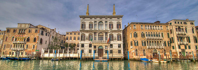 The Grand Canal with in the center Palazzo Papadopoli now converted into the Aman Canal Grande Hotel. Photo © Adrian Turner.
