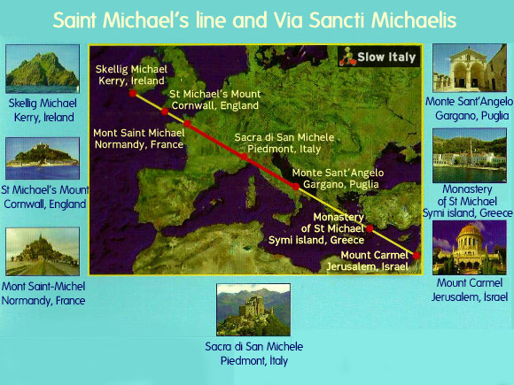 Saint Michael ley line (in yellow) and Via Sancti Michaelis (in red). Adapted by Slow Italy.