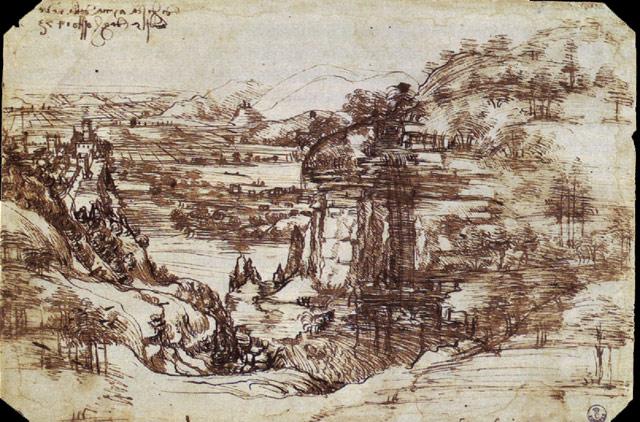 Study of a Tuscan Landscape (1473) - Uffizi Gallery
