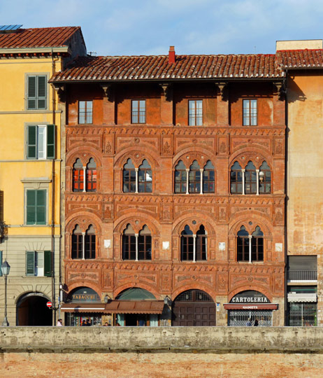 Palazzo Agostini, built in the 14th century, is one of the oldest palazzi in Pisa. It houses the Caffè dell'Ussero (founded in 1775) and used to house the oldest cinema in Italy, closed in 2011. It is one of the most important examples of civil gothic architecture in Tuscany. Photo by Lucarelli
