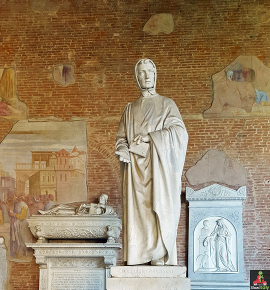 Tomb of the famous Pisan mathematician Leonardo Fibonacci, inventor of the sequence of Fibonacci numbers. Fibonacci also introduced the Hindu-Arabic numeral system we still use today to the Western world. He is considered to be the most talented Western mathematician of the Middle Ages.