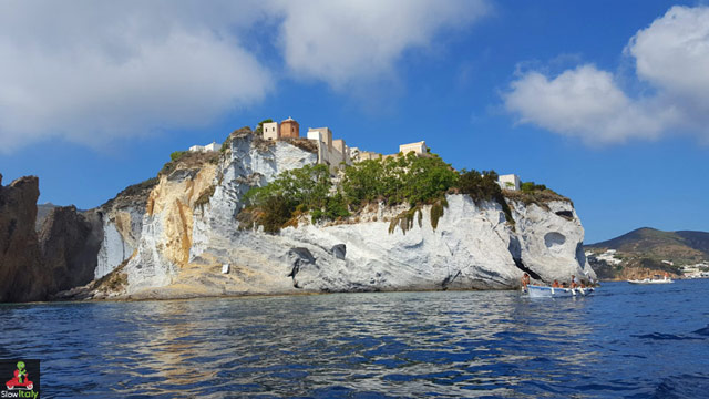Ponza cemetery as seen from the sea